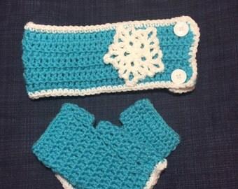 Elsa themed ear warmers, frozen, headband and wrist warmers