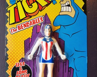 The Tick – The Bendables- American Maid Action Figure – No. 050 Gordy Toy 1996 Still in Package – Hard Find