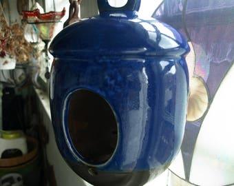 Large Dark Royal Blue Ceramic Bird Feeder or Bird House