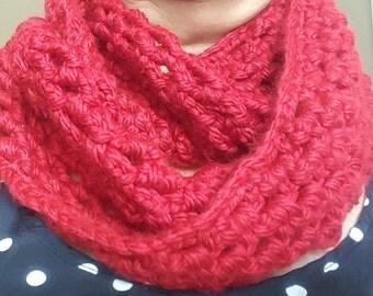 Round Crochet Scarf Red Terracotta