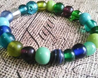 Glass beaded bracelet, elastic bead bracelet, multicolor bracelet, stack bracelet, bead bracelet, stack bead bracelet, stretch bracelet