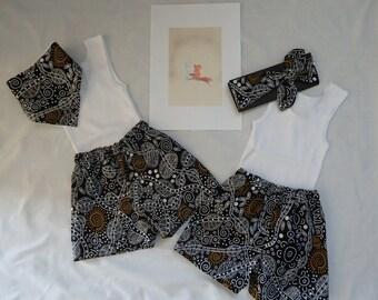 Size 6 - 12 months Boys Shorts, singlet and Bandana Bib set