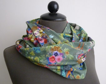 Cowl neck scarf, scarf, Infinity scarf, Peacock