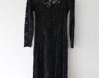Vintage black lace beaded floor length long sleeved dress BASICS II size 8
