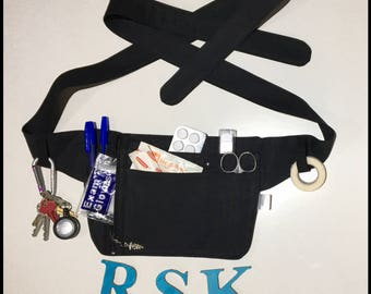 Nurses carry all, Hip Carry bag, Bum bag, Festival Belt, Utility Belt, Hip bag,Nurse bag, nurses pouch, black