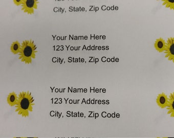 30 Yellow and Black Flowers Return Address Labels