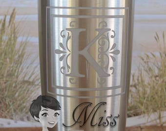 Custom etched 20 oz YETI Tumbler