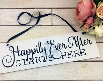Happily Ever After Starts Here Sign-Boho Chic Wedding Sign-Black And White Wedding Sign