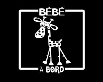 Vinyl car decal. Baby on board. Giraffe. baby on board