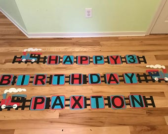 Train Birthday Banner