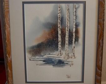Mark Vranesh Framed Watercolor Trees by Stream in Winter