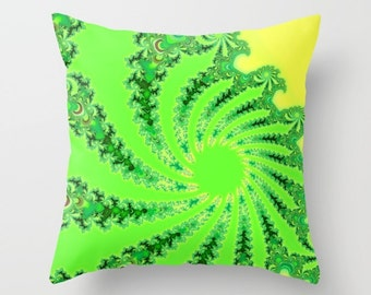 Psychedelic Decor, Psychedelic, Green Pillow, Throw Pillow Cover, Alice in Wonderland, Sofa Pillow, Toss Pillow, Couch Pillow, Cushion Cover