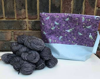Extra Large Project Bag - Jumpers, Shawls, Blankets - Birds purple