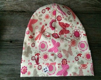 Tuque beanie for baby child pink butterfly