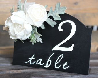 Wedding Table Numbers, Wedding Chalkboard Table Numbers, Table Numbers with Flowers, Wedding