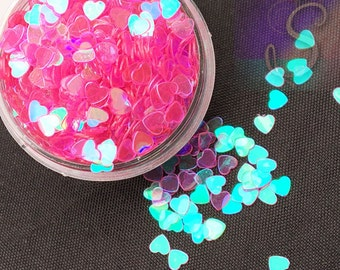 Tiny Pink Iridescent Hearts, Glitter Resin Inclusions, Color Changing Hearts