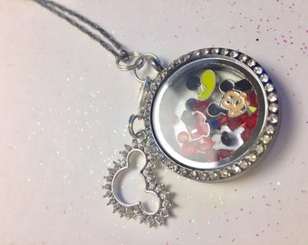 disney necklace, floating lockets, memory locket, living locket - disney jewelry - Mickey mouse jewelry - Mickey mouse necklace -