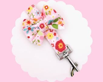 Pink Multi Flowers Bow or Bare Dog & Puppy Leash