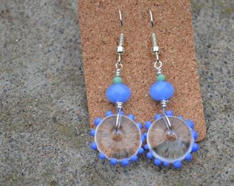 Blue Dot Flameworked Earrings, Whimsical earrings,