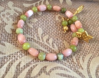 Tennis Anyone? Olive New Jade and Peach Cat's Eye and Jade drop bead Bracelet