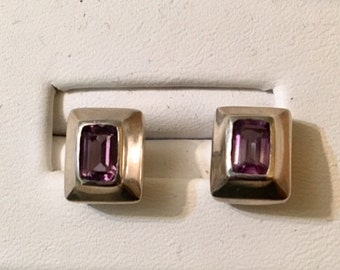 USA FREE SHIPPING-Amethyst Sterling Silver Earrings