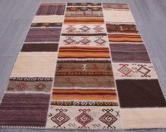 Turkish Patchwork Kilim ,Rug ,Carpet ,Anatolian,Tribal, Striped Patchwork -wool rug-170x240=4.08 m2,6x8 ft