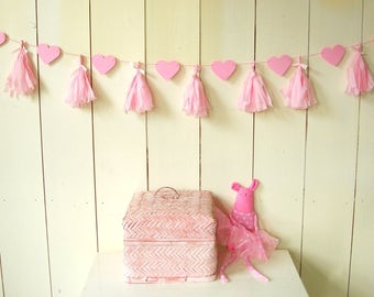 Paper Garland of hearts and tassels. Rose. Kids room, baby room, baby shower, birth, marriage.