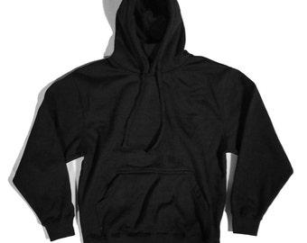 Mens Heavyweight Plain Pullover Hoodie | Black | Heather Charcoal | Heather Grey