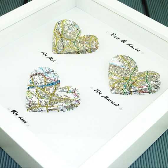 we me we married map print wedding gift paper anniversary