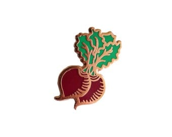Beets Enamel Pin - Vegetable Lapel Pin // Hard Enamel Pin, Cloisonné, Pin Badge