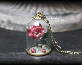 "Antique bronze glass dome chain ""BELLE"" with red rose"