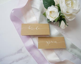Hand Lettered Modern Calligraphy Place Cards for Weddings|Wedding Place Cards| Kraft Place Cards
