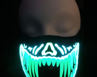 Green and Yellow Teeth Sound Activated LED Rave Mask for DJ, Edc, Ultra, Music Festival, Concerts, Club, EDM, Cyber, Costume, Cosplay, Music