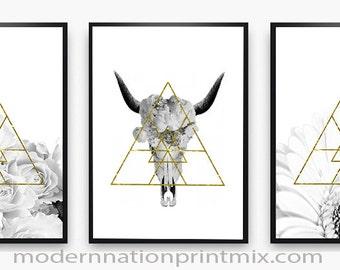 Skull Print, Skull Artwork, Minimalist skull Print, Instant Download Art, Modern Wall Art, Contemporary Prints, Geo-minimalist Prints, Trend