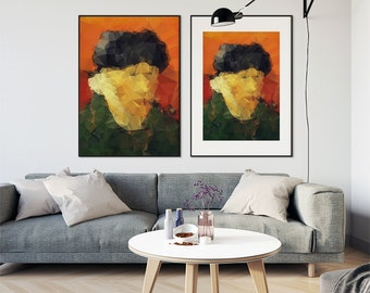 SELF PORTRAIT - VINCENT - Posters, prints Modern polygonal decor - Vincent Van Gogh. Wall art printable