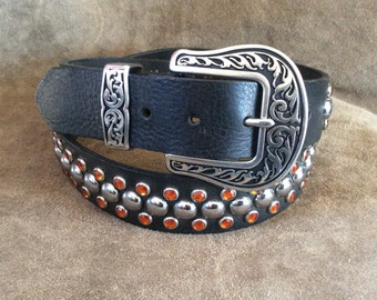 MARKED DOWN Leather Studded Belt