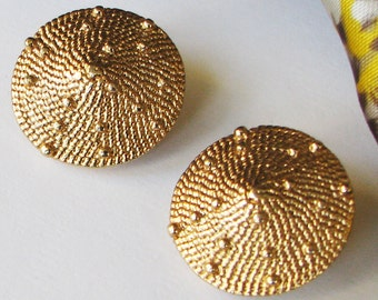 Vintage Clip On Earrings Gold Tone Textured Circle Round