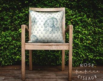 Cushion Cover Anchor & Medusa pattern - Nautical, Velveteen, Marine, Beach Decor, Beach Theme, White, Bleu, Green, Decorative Cushion, Ocean