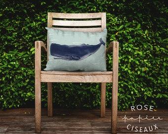 Cushion Cover Whale - Illustrations, Velveteen, Cushion Nautical Theme, Decorative Cushion, Baby room, Beach decor, Blue, Green, White