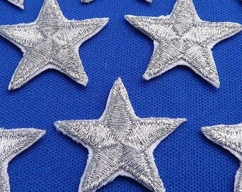 Pack of 3 Silver star patches > iron-on or sew-on > very pretty!