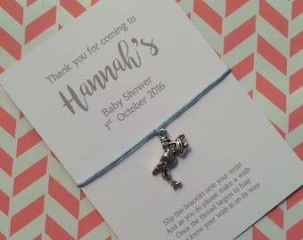Baby shower favour friendship /wish bracelet with personalised backing card, hand made gift, party bag filler, stork charm, script