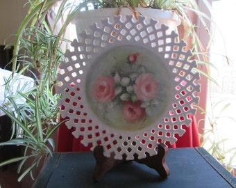 VINTAGE LATTICE EDGE Milk Glass Fruit Plate, Small Lattice Milk Glass Dish, Floral Print, Hand Painted, Charming