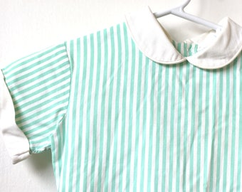 Vintage 1950s YOUNGLAND Short Sleeve Mint White Striped Toddler Babydoll Dress