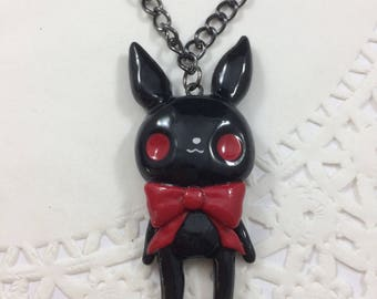 Pastel Goth Creepy Bunny Doll Pendant Necklace