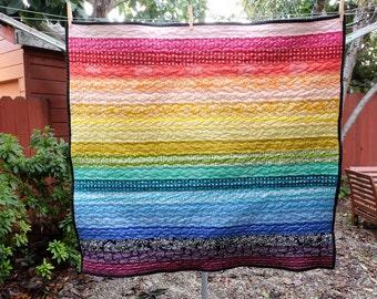 Modern Rainbow Striped Baby Blanket / Lap Quilt