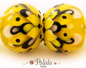 Pair of Yellow and black Lampwork Glass Beads for earrings