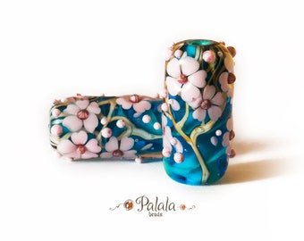 Pair of Lampwork Beads with cherry blossom