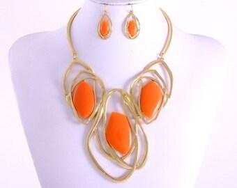 Big Orange Stunning Gemstone Necklace