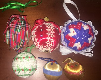 Lot of 6 Unique Vintage Homemade Ornaments