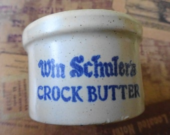 Vintage Miniature Win Schuler's Crock Butter Clay crock